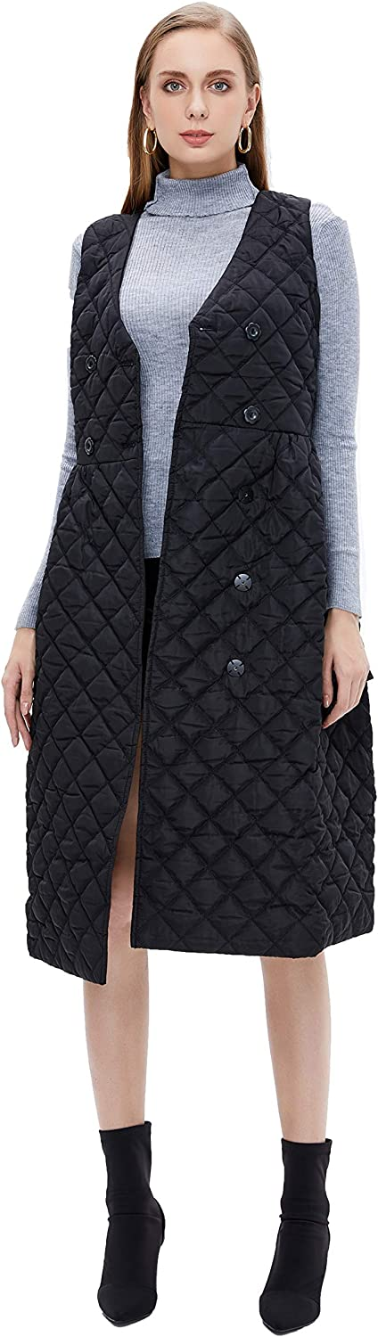 Generic M Retail Premium Collection Women Fashion Thickened Diamond Type Quilted Dress Sleeveless, Black, Large