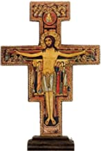 Desiderata Gallery Brand, San Damiano, St. Francis Tau Standing Crucifix Cross Hand Made Olive Wood Imported from Assisi Italy