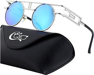 3e02a063f1 CGID E71 Steampunk estilo retro inspirado círculo metálico redondo gafas de  sol polarizadas para hombres