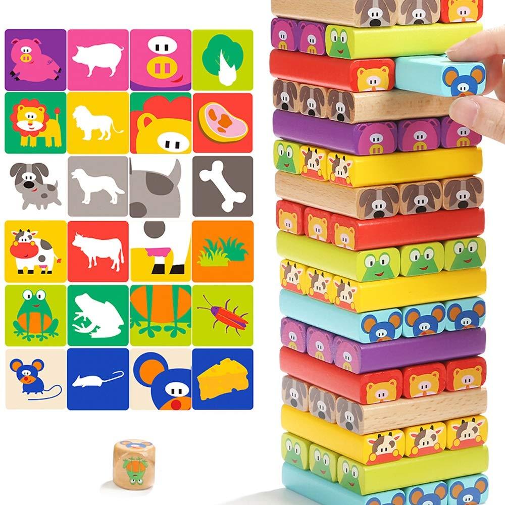 LEEDOO Bloques de construcción para animales, pilas de madera, pilas altas, juegos de mesa, juguetes para niños, niños y niñas, juguetes educativos, 1-3-6 años Juguetes para niños Regalo de cumpleaños: Amazon.es: Juguetes