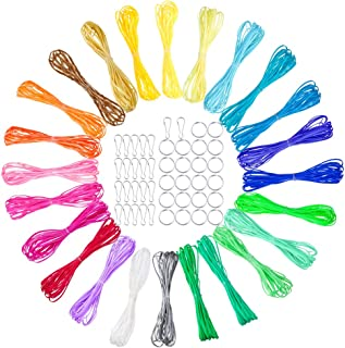 PP OPOUNT 24 Colors Gimp Bracelet Scoubidou String Plastic Lacing Cord with 22 Pieces Snap Clip Hooks and 22 Pieces Key Ch...