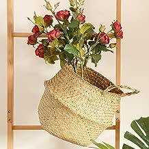 Corsion Seagrass Wicker Basket Wicker Basket Flower Pot Folding Basket Dirty Basket Storage Basket (Beige)