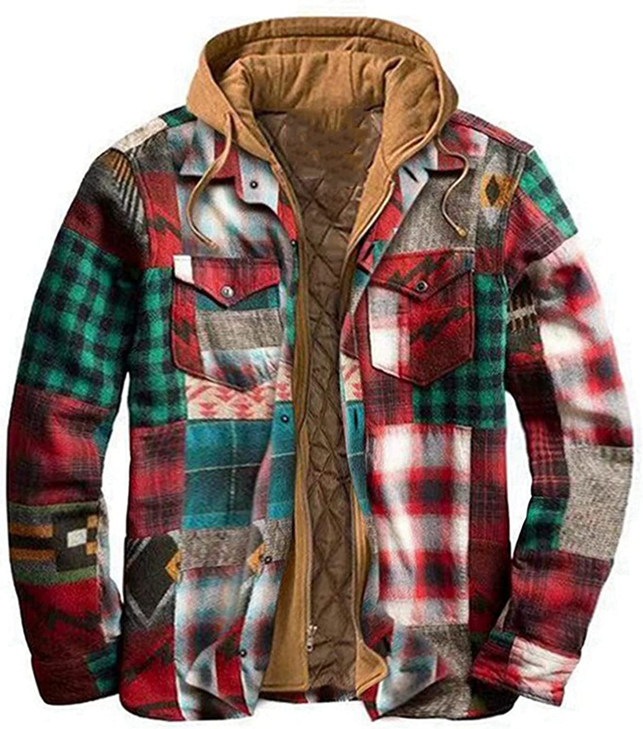 Men's Plaid Stamp Jackets,Long Sleeved Warm Lined Plush Thicken Shirt V170