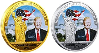 BZTT Commemorative Coin President Donald Trump Challenge Coin Gold Plated and Silver Plated, Gift for Friends, Kids, Lovers, Families( Silver and Gold)