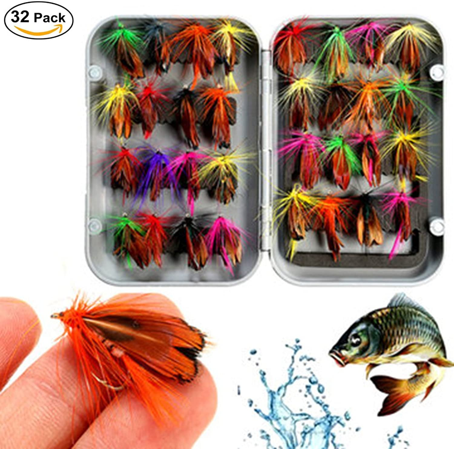 Fly Fishing Lure Butterfly Like Dry Flies Bait Hook for Bass Salmon Trout with Waterproof Pocketed Case Box (32pcs)