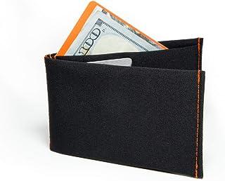 SlimFold Minimalist RFID Wallet - Thin, Durable, and Waterproof Guaranteed - Made in USA - Nano Size Black with Orange Stitching