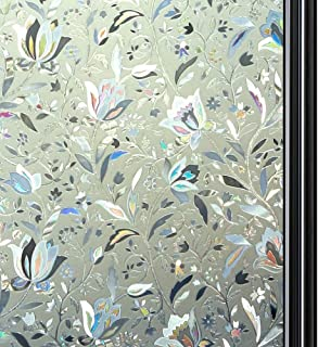 Qualsen 3D Vinilo de Ventana Pegatina Vinilos para Ventanas Protección contra los Rayos UV y la estática Aplicable a Cocina Oficina Salón, Tulip (90 x 200 cm)
