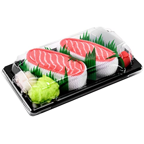 Sushi Socks Box - 1 par de CALCETINES: Nigiri Salmón - REGALO DIVERTIDO, Idea
