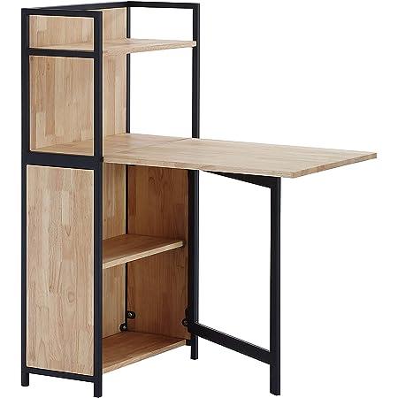 Shelf, Estanteria con Mesa Plegable para Salon, Comedor o Cocina, Acabado en Roble Salvaje y Negro, Medidas: 62 cm (Largo) x 120 cm (Alto) x 30 cm ...