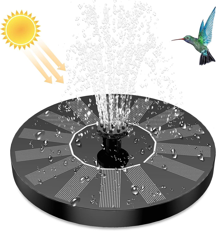 Fuente Solar para Estanque, AISITIN Bomba de Agua Solar, Solar Fuente con 6 Estilos, para Estanque de Jardín Fuente, Baño para Pájaros, Césped, Circulación de Agua para Oxígeno