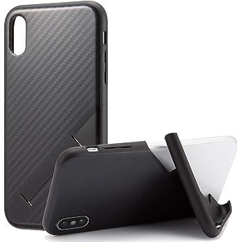カンピーノ campino スマホケース iPhone XS ケース iPhone X ケース 対応 カーボン OLE stand スタンド機能 耐衝撃 スリム 薄型 動画 Qi ワイヤレス充電対応 ブラック 黒