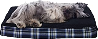 FurHaven Pet Dog Bed | Deluxe Orthopedic Faux Sheepskin & Plaid Pet Bed for Dogs & Cats, Midnight Blue, Medium