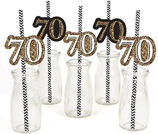 Adult 70th Birthday - Gold - Paper Straw Decor - Birthday Party Striped Decorative Straws - Set of 24