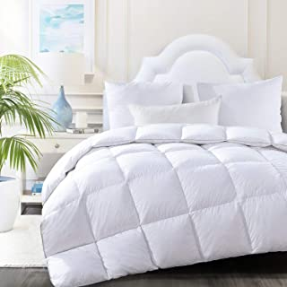 HOMBYS Luxury White Real California King Down Comforter 108 x 98 All Season Cali Oversized Feather Duvet Insert Hypo-allergenic 100% Cotton Cover Down Proof with Corner Tabs(Cal King,108 x 98 inch)