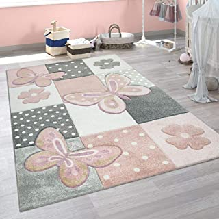 Paco Home Alfombra Infantil Pastel Mariposas Motivo Cuadros Lunares Flores Colorida, tamaño:Ø 120 cm Redondo