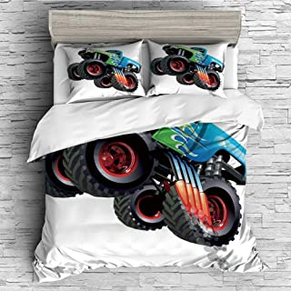 iPrint Soft Luxurious 4 Pcs Decorative Quilt Duvet Cover Set Comforter Cover Set(King Size) Cars,Cartoon Monster Truck Cool Vehicle Modified to The Perfection Colorful Design Decorative,Aqua