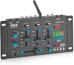 Wireless DJ Audio Mixer - 3 Channel Bluetooth Compatible DJ Controller Sound Mixer, Mic-Talkover, USB Reader, Dual RCA Pho...