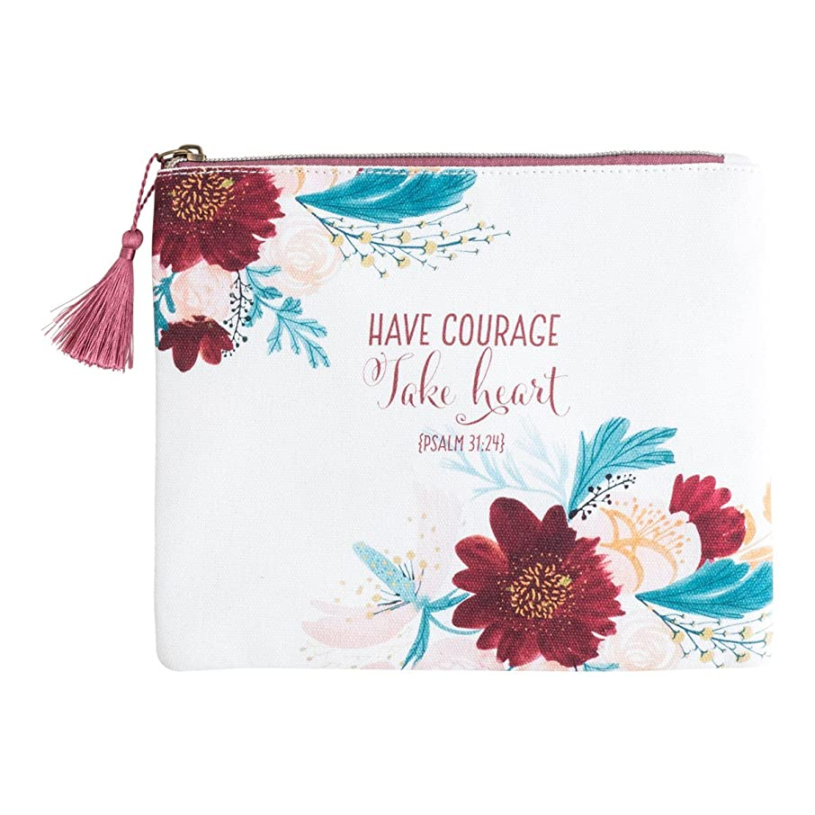 Canvas Pouch with Tassel Zipper Pull - Have Courage, Take Heart