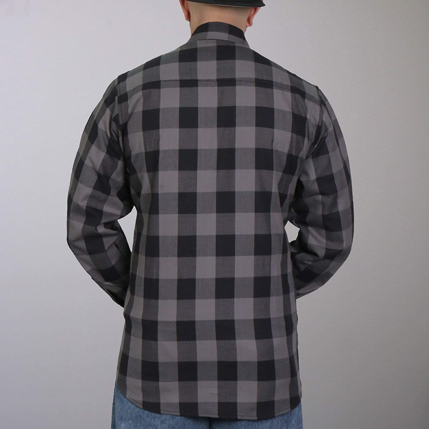 Hot Leathers FLM2001 Mens Black and Gray Long Sleeve Flannel Shirt