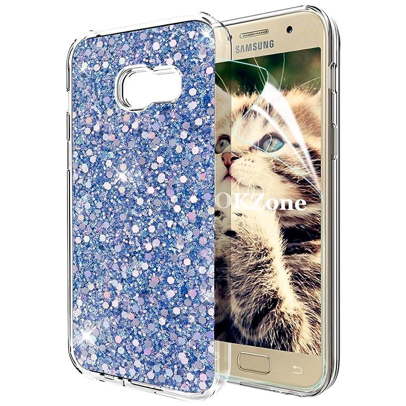 Samsung Galaxy A3 2017ケース [HDスクリーンフィルム付き] OKZone キラキラ 目立つデザイン TPU シリコン カバー 耐衝撃ボディ 全面保護 落下防止 ファッション Samsung Galaxy A3 2017 適用 (青)