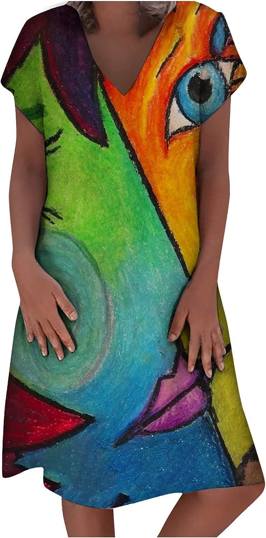 Women T-Shirt Dress Summer Short Sleeve V Neck Abstract Print Casual Dress Vintage Graphic Plus Size Short Dresses