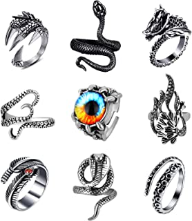 Sunssy 9 Pieces Vintage Punk Rings for Men Gothic Dragon Claw Octopus Cobra Snake Rings Open Adjustable Ring Set Jewelry