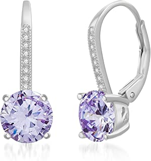 Lesa Michele Womens Round Cubic Zirconia Drop Lever Back Bridal Gift Earrings in Sterling Silver