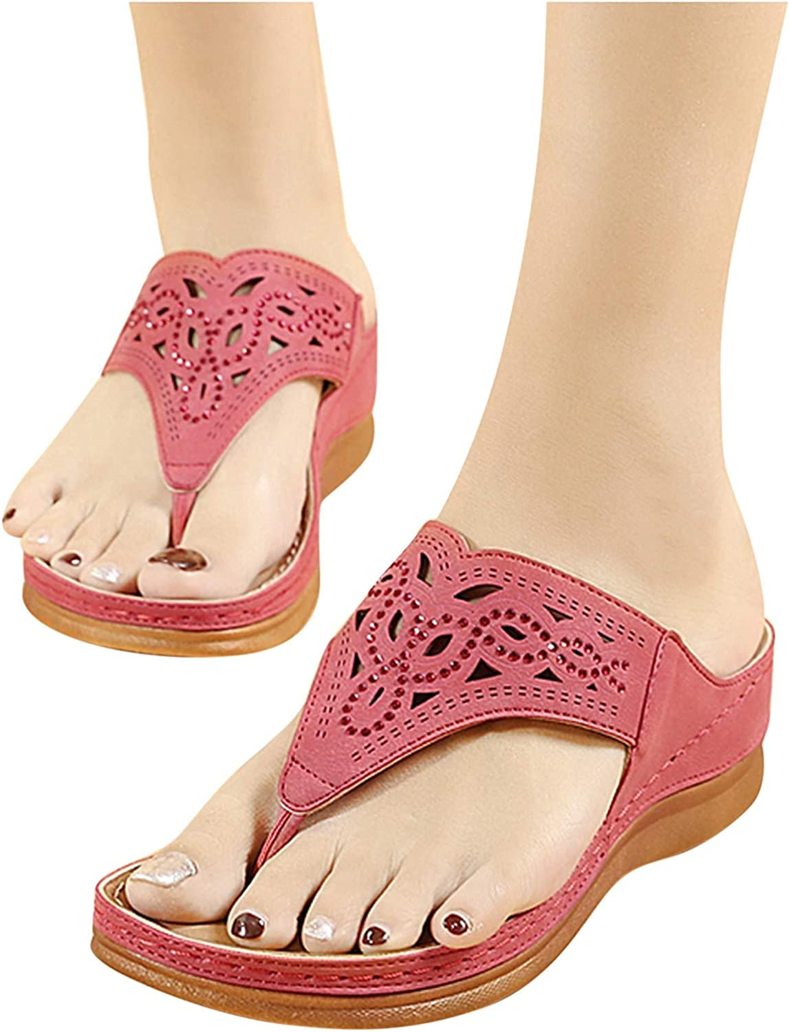 Xinantime Women Flip-Flops Summer Slip-On Slide Wedges Beach Open Toe Breathable Sandals Embroidery Shoes