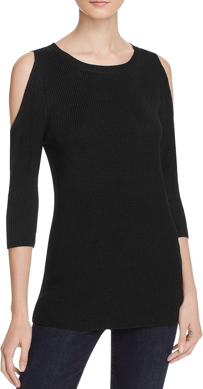 Aqua Cold Shoulder Sweater, Black, XSmall