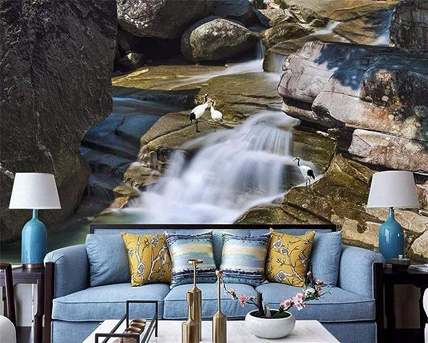 VIXI Stickers muraux Papier peint 3D Cascade Paysage Salon Photo Papier Peint Décoration de La Maison Art Decal Mural,300  210cm,