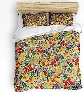 LnimioAOX Juego de Funda nórdica Flores clásicas de 3 Piezas con 2 Fundas de Almohada Decorativas, Colcha, decoración Colorida Floral de Primavera