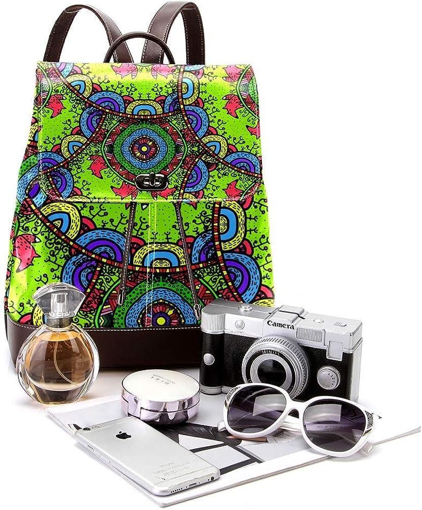 Foxes Green Pattern PU Leather Backpack Fashion Shoulder Bag Rucksack Travel Bag for Women Girls