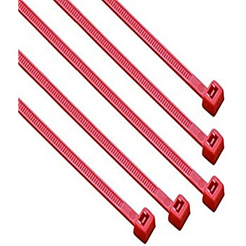 """South Main Hardware 848148 8-in, 100-Pack, 75-lb, Red, Standard Nylon Cable Tie, 8"""", 100 Piece"""