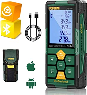Medidor Láser 60m, POPOMAN Telémetro Láser (Bluetooth4.0 + App), Niveles de Burbuja con Carga Rápida USB, 99 datos, Funció...