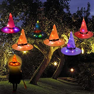 Party Decor YUNLIGHTS Halloween Decorations 6Pcs Witchs Hat Decor Light 33ft String Lights for Indoor,Outdoor,Garden Trees