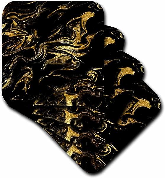 3dRose Cst 275232 3 Image Of Chic Trendy Gold Glitter Veins On Black Marble Agate Gemstone Ceramic Tile Coasters Set Of 4 Ceramic