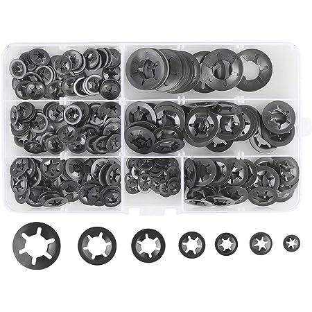 120 piezas Kit de Juego de Anillos de Retenci/ón Externos de Acero Inoxidable 304 de 1,5 mm a 10 mm Kit de Circlip Presion con Resistencia a la Corrosi/ón y al Aceite