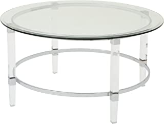 Christopher Knight Home Lynn Modern Round Tempered Glass Coffee Table with Acrylic and Iron Accents, Clear
