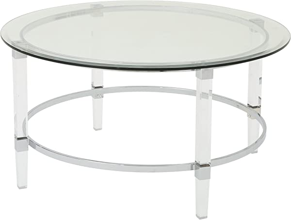 Great Deal Furniture 302313 Lynn Modern Round Tempered Glass Coffee Table With Acrylic And Iron Accents Clear