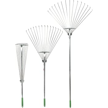 Professional EZ Travel Collection Adjustable Telescopic Folding Rake, Expandable Rake for Gardens, Flower Beds, Window Wells, and More