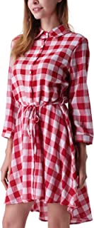 Women's Plaids Long Sleeves Button Down Belted Party Mini A-Line Shirt Dress