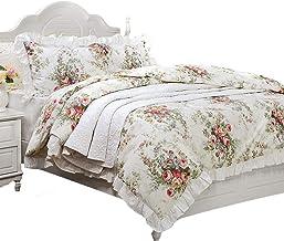 FADFAY Beautiful Doona Cover Set 100% Cotton Vintage Rose Hypoallergenic,Queen Size 3-Piece