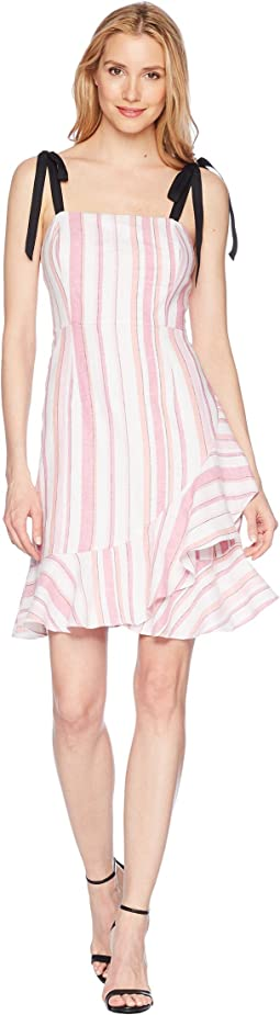 Striped Linen Fit and Flare Dress with Asymmetrical Ruffle Skirt