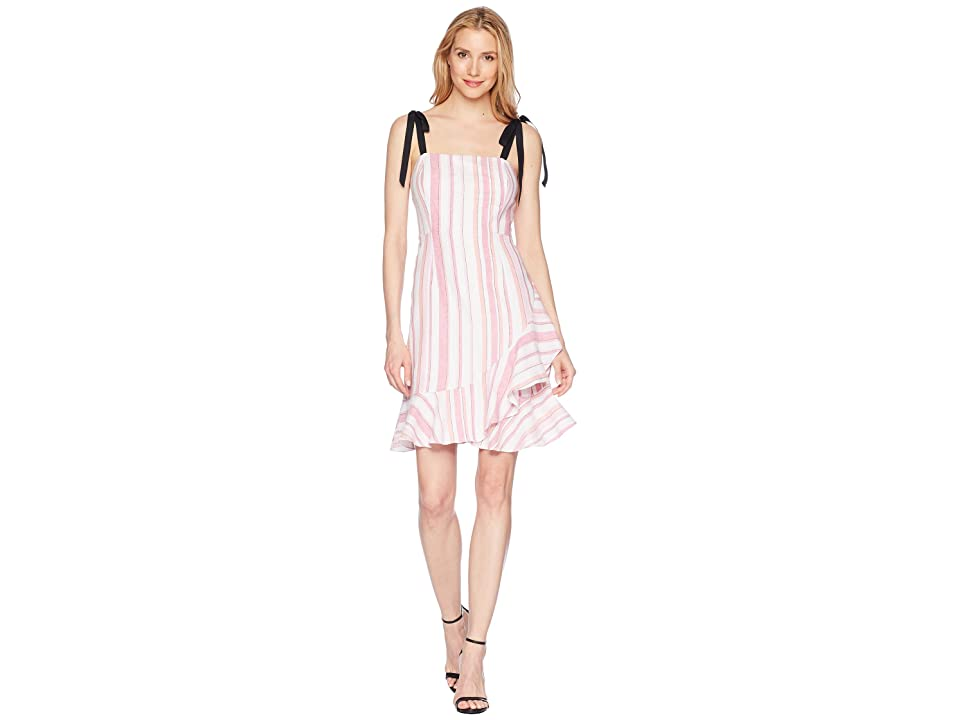 Donna Morgan Striped Linen Fit and Flare Dress with Asymmetrical Ruffle Skirt (Pink/Ivory Multi) Women
