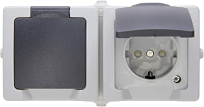 Kopp Nautic 2-voudig stopcontact voor vochtige ruimtes met klapdeksel & contactbeveiliging (kinderbeveiliging) I geaard st...