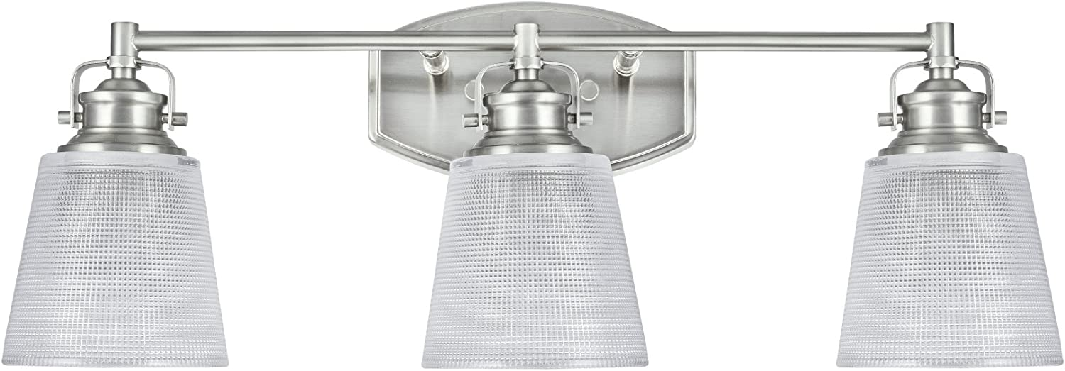 Aspen Creative 62087, Three-Light Metal Bathroom Vanity Wall Light Fixture, 24  Wide, Transitional Design in Brushed Nickel with Clear Glass Shade