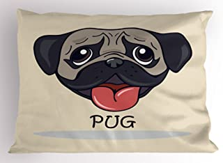 Ambesonne Pug Pillow Sham, Cartoon Pug Dog Caricature with Its Tongue Out Happy Face Animal Fun Illustration, Decorative Standard Size Printed Pillowcase, 26