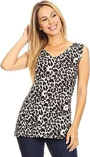 60ff62e3de9 Anna-Kaci Womens Fitted Sexy V Neck Leopard Print Sleeveless Vest Basic Tank  Top