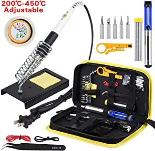 Wmore Soldering Iron Kit, 14 in 1 110V 20W to 60W Adjustable Temperature Soldering Iron,1xDesoldering Pump,1xSoldering Station,5xSoldering Tips,1xSolder Wire,Perfect for DIY Project