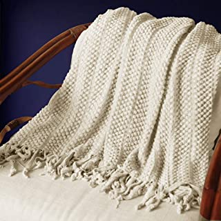 """PAN'S ROOM Knitted Throw Soft & Cosy Blanket for Cough Sofa Bed travel-50""""x70"""", (Ivory)"""